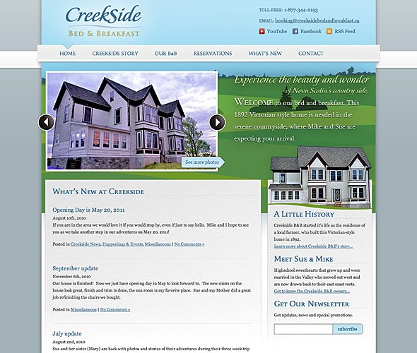 Screenshot of website